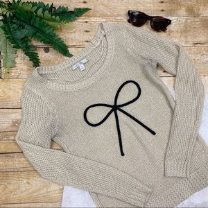 LC Lauren Conrad • Gold Shimmer Bow Sweater